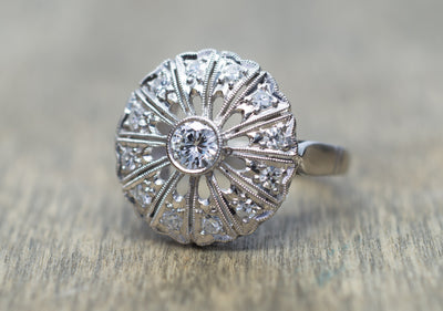 ART DECO PLATINUM AND DIAMOND COCKTAIL RING - SinCityFinds Jewelry