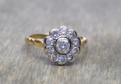 0.85CTW VINTAGE DIAMOND DAISY RING IN MIXED GOLD - SinCityFinds Jewelry