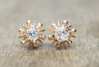 1.3CTW ANTIQUE OLD MINE CUT DIAMOND EARRINGS - SinCityFinds Jewelry