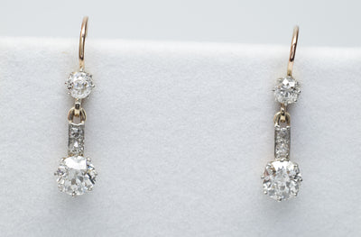 1.85CTW ANTIQUE DIAMOND EARRINGS OLD MINE CUT - SinCityFinds Jewelry