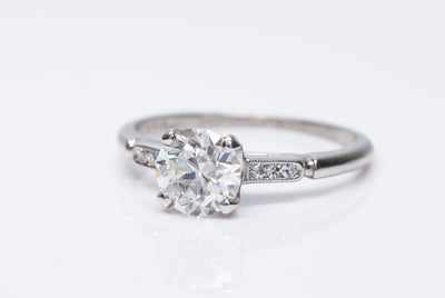 0.95CT ART DECO OLD EUROPEAN CUT DIAMOND SOLITAIRE WITH ACCENTS - SinCityFinds Jewelry