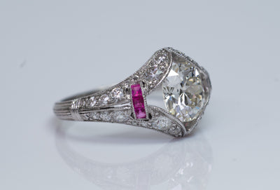 ART DECO OLD MINE CUSHION CUT DIAMOND RING IN PLATINUM
