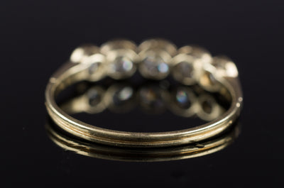 VINTAGE GOLD AND PLATINUM FIVE STONE BAND - SinCityFinds Jewelry