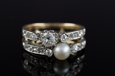 PEARL AND OLD CUT DIAMOND TOI ET MOI RING