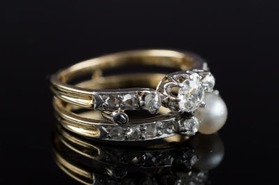 PEARL AND OLD CUT DIAMOND TOI ET MOI RING - SinCityFinds Jewelry