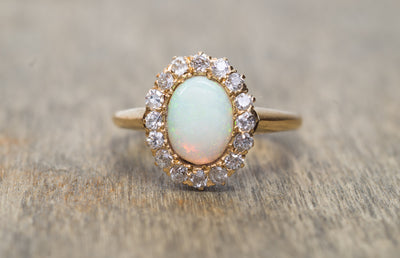 VINTAGE OPAL AND OLD MINE CUT HALO RING - SinCityFinds Jewelry
