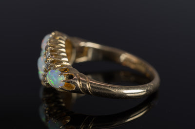 ANTIQUE MINE CUT DIAMOND AND OPAL RING - SinCityFinds Jewelry