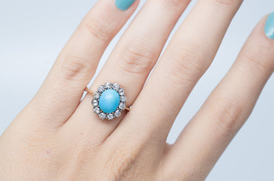ANTIQUE TURQUOISE AND OLD MINE CUT DIAMOND COCKTAIL RING - SinCityFinds Jewelry