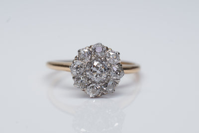 0.71CTW EDWARDIAN OLD MINE CUT DIAMOND DAISY RING - SinCityFinds Jewelry