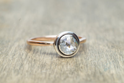 VINTAGE ROSE CUT DIAMOND SOLITAIRE IN GOLD - SinCityFinds Jewelry