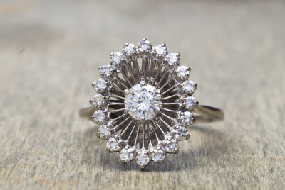 VINTAGE JABEL WHITE GOLD DIAMOND COCKTAIL RING - SinCityFinds Jewelry