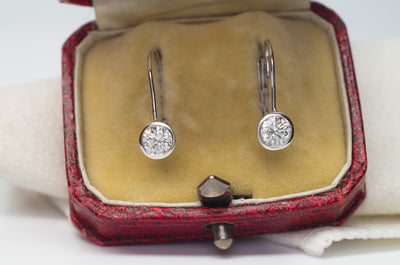 1CTW BEZEL SET DANGLE DIAMOND  EARRINGS - SinCityFinds Jewelry