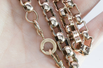 VICTORIAN 17.25IN WATCH CHAIN NECKLACE 14K GOLD - SinCityFinds Jewelry
