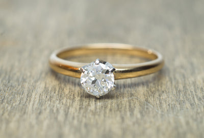 OLD EUROPEAN CUT DIAMOND SOLITAIRE IN WHITE GOLD - SinCityFinds Jewelry