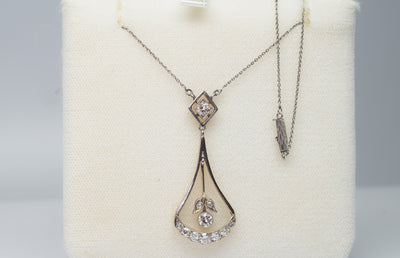 0.85CTW ART NOUVEAU OLD CUT DIAMOND AND PLATINUM LAVALIER NECKLACE