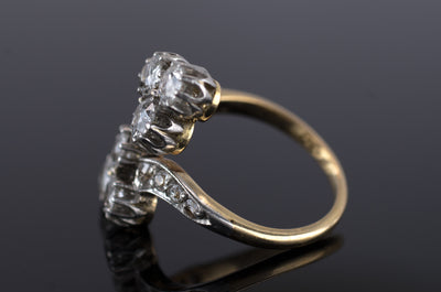 1.25CTW PLATINUM OVER GOLD ANTIQUE TOI ET MOI DIAMOND RING - SinCityFinds Jewelry