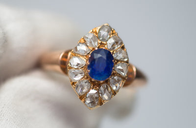 ROSE CUT DIAMOND HALO AND NATURAL SAPPHIRE RING - SinCityFinds Jewelry