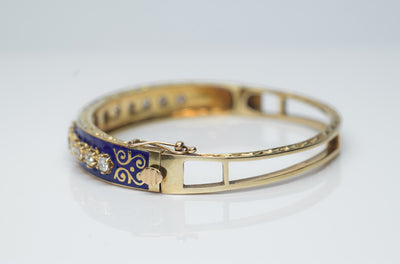 1.5CTW VINTAGE SOLID GOLD, DIAMOND AND ENAMEL BANGLE