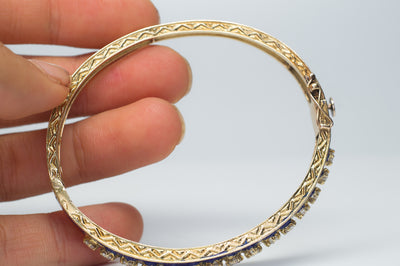 1.5CTW VINTAGE SOLID GOLD, DIAMOND AND ENAMEL BANGLE - SinCityFinds Jewelry