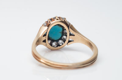 VICTORIAN TURQUOISE AND OLD MINE CUT DIAMOND HALO RING - SinCityFinds Jewelry