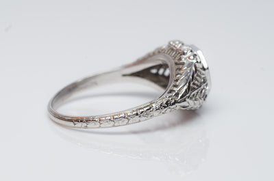 VINTAGE OLD EUROPEAN CUT DIAMOND RING IN WHITE GOLD
