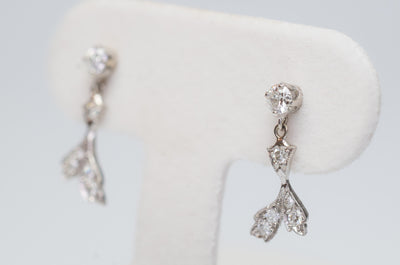 DAINTY VINTAGE GOLD AND PLATINUM DIAMOND EARRINGS - SinCityFinds Jewelry
