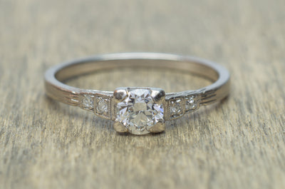 0.45CTW ART DECO OLD EUROPEAN CUT DIAMOND RING - SinCityFinds Jewelry