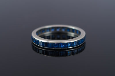 VINTAGE SAPPHIRE ETERNITY RING IN PLATINUM - SinCityFinds Jewelry