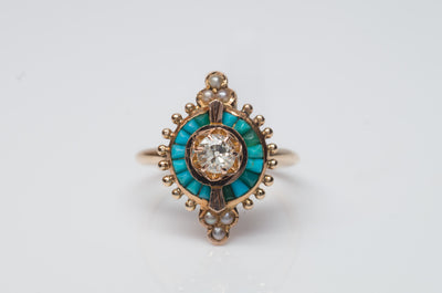 ANTIQUE TURQUOISE AND DIAMOND COCKTAIL RING - SinCityFinds Jewelry