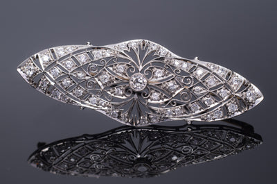 1CTW EDWARDIAN DIAMOND BROOCH IN PLATINUM AND GOLD - SinCityFinds Jewelry