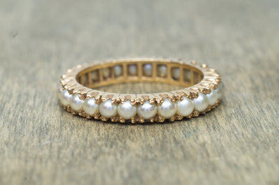 ANTIQUE SEED PEARL ETERNITY BAND