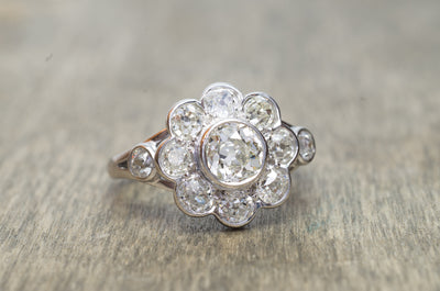 1.8CTW ANTIQUE OLD MINE CUT DIAMOND ENGAGEMENT RING