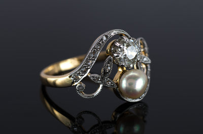 ANTIQUE PEARL AND DIAMOND RING - SinCityFinds Jewelry