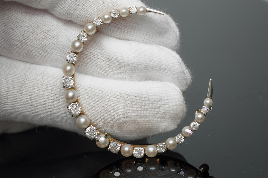 1.16ctw EDWARDIAN OLD EUROPEAN CUT DIAMOND AND PEARL BROOCH