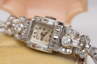 2.50CTW ART DECO HAMILTON  DIAMOND WRISTWATCH - SinCityFinds Jewelry
