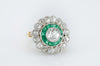 2.9CTW EMERALD AND OLD MINE CUT TARGET RING - SinCityFinds Jewelry