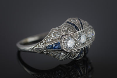DECO OLD EUROPEAN CUT DIAMOND AND SAPPHIRE RING