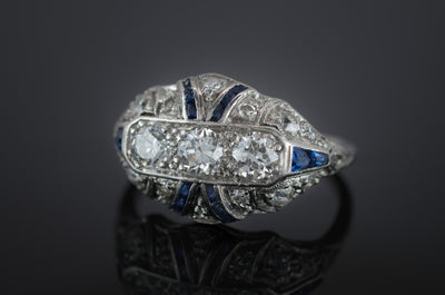 DECO OLD EUROPEAN CUT DIAMOND AND SAPPHIRE RING - SinCityFinds Jewelry