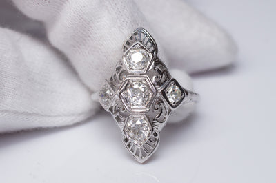 0.76CTW VINTAGE NAVETTE STYLE OLD MINE CUT 5 DIAMOND RING - SinCityFinds Jewelry