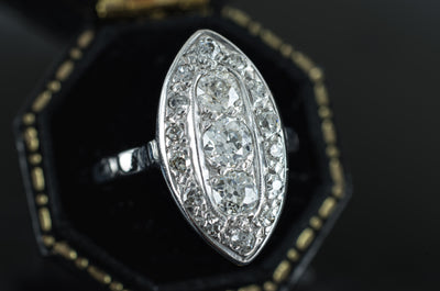 VINTAGE OLD EUROPEAN CUT DIAMOND NAVETTE RING - SinCityFinds Jewelry