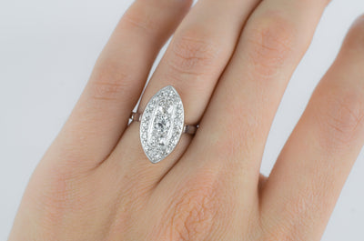 VINTAGE OLD EUROPEAN CUT DIAMOND NAVETTE RING