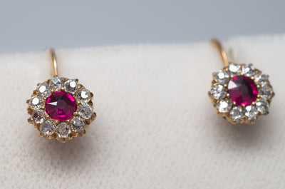 VICTORIAN ANTIQUE RUBY AND OLD MINE CUT DIAMOND EARRINGS - SinCityFinds Jewelry