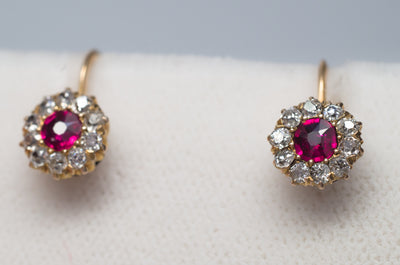 VICTORIAN ANTIQUE RUBY AND OLD MINE CUT DIAMOND EARRINGS