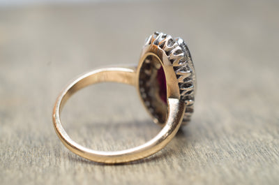 VINTAGE OLD MINE CUT HALO AND SYNTHETIC RUBY RING