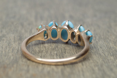 TURQUOISE 5 DIAMOND BAND RING
