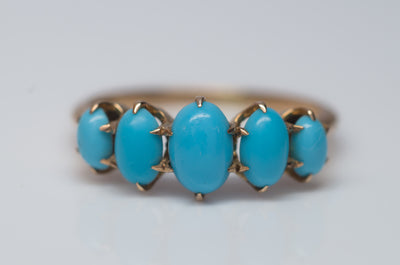 TURQUOISE 5 DIAMOND BAND RING - SinCityFinds Jewelry
