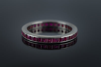 VINTAGE PLATINUM AND RUBY ETERNITY BAND