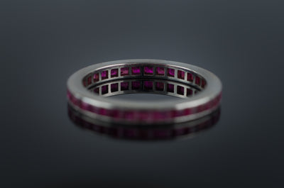 VINTAGE PLATINUM AND RUBY ETERNITY BAND - SinCityFinds Jewelry