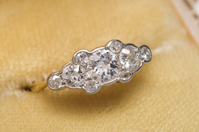 0.76CTW ANTIQUE OLD EUROPEAN 5 DIAMOND STYLE ANNIVERSARY RING