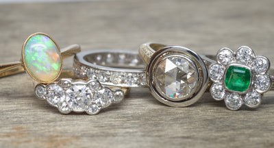 ANTIQUE ROSE CUT DIAMOND RING SOLITAIRE - SinCityFinds Jewelry